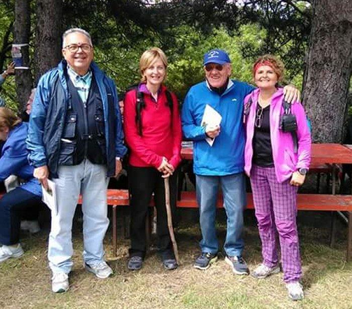 Da sinistra: Romano Bacchilega (Vice Presidente Centro Ca' di Malanca), Paola Lanzon (Presidente UISP), Nicodemo Montanari, Maria Teresa Castaldi (Vice Presidente CAI Imola)
