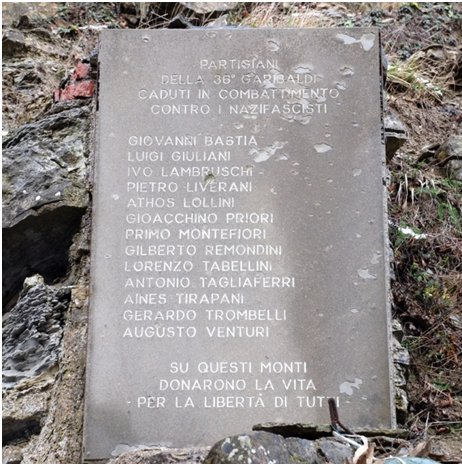 Lapide in ricordo del sacrificio partigiano al passo della Sambuca